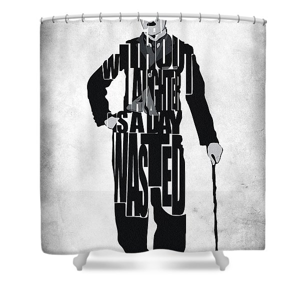 Charlie Chaplin Typography Poster Shower Curtain