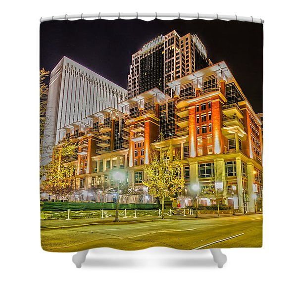 Charlotte City Skyline Night Scene Shower Curtain