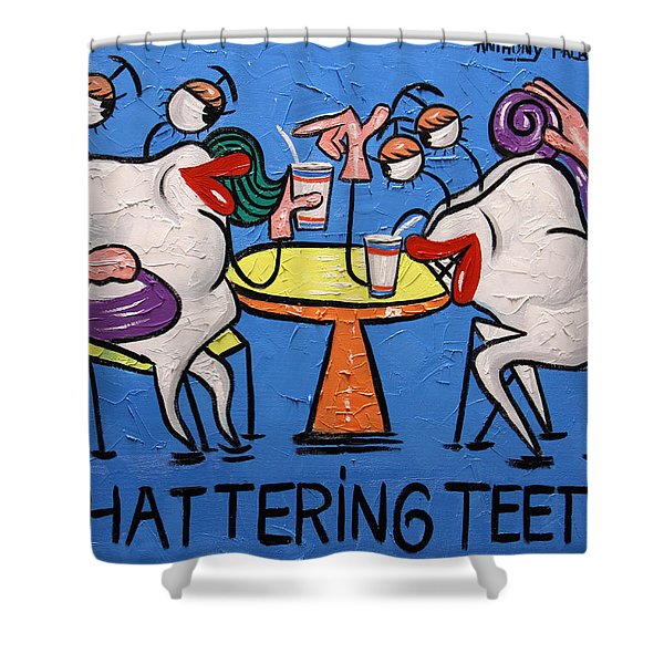 Shower Curtain featuring the painting Chattering Teeth Dental Art By Anthony Falbo by Anthony Falbo