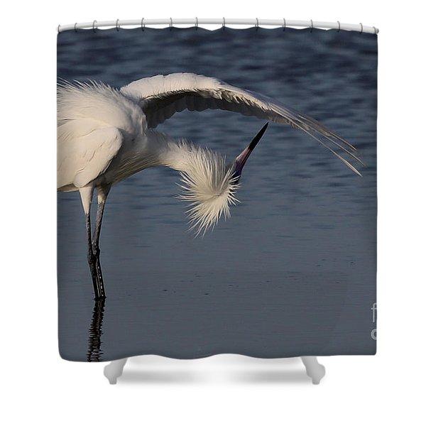 Checking For Leaks - Reddish Egret - White Form Shower Curtain
