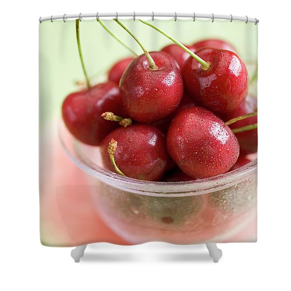 Cherries In Plastic Tub On Slice Of Watermelon Shower Curtain