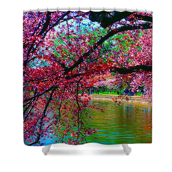 Cherry Blossom Walk Tidal Basin At 17th Street Shower Curtain