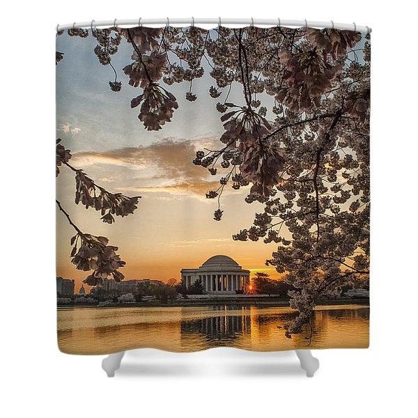 Cherry Sunrise Burst Shower Curtain
