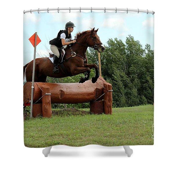 Chestnut Over Log Jump Shower Curtain