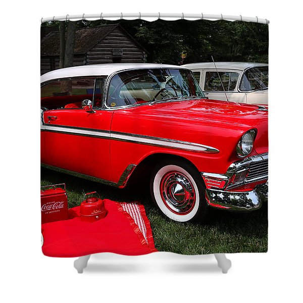 Chevy Bel Air In Red Shower Curtain