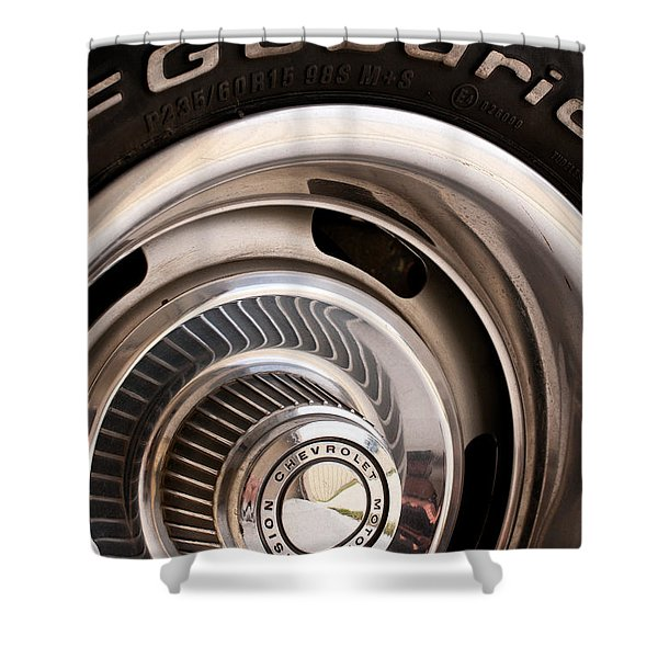 Chevy Wheel Shower Curtain