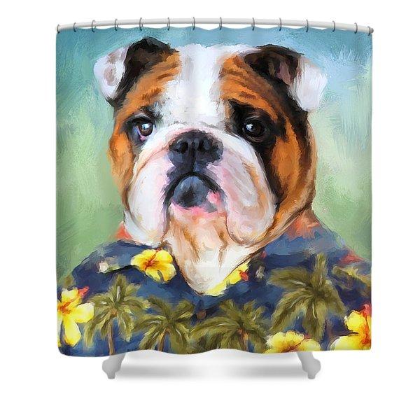 Chic English Bulldog Shower Curtain