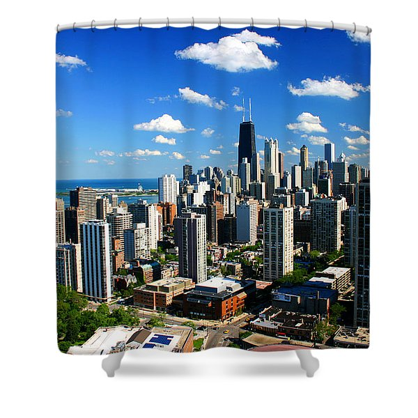 Chicago Buildings Skyline Clouds Shower Curtain