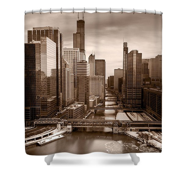 Chicago City View Afternoon B And W Shower Curtain