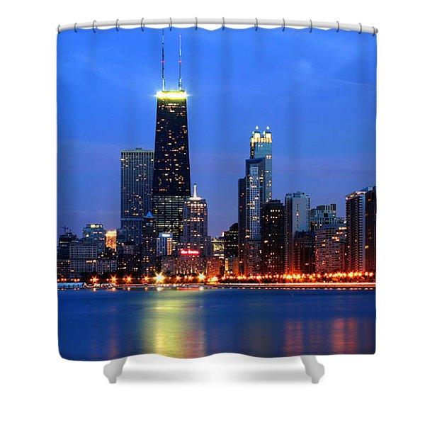 Chicago Dusk Skyline Hancock Shower Curtain