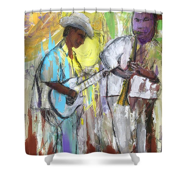 Shower Curtain featuring the painting Chicago Jam by Keith Thue
