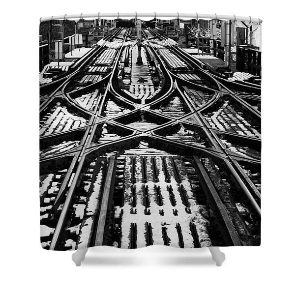 Chicago 'l' Tracks Winter Shower Curtain