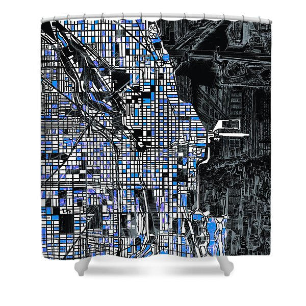 Chicago Map Drawing Collage 3 Shower Curtain