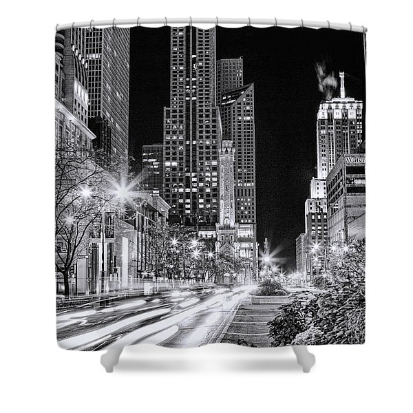 Chicago Michigan Avenue Light Streak Black And White Shower Curtain