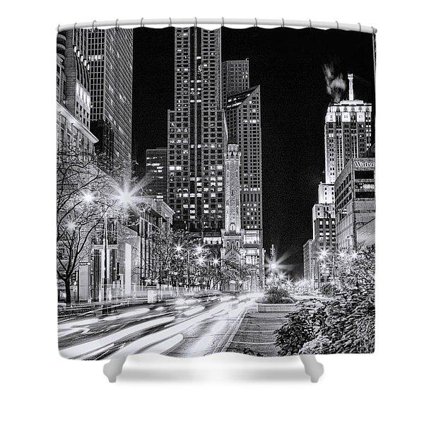 Chicago Michigan Avenue Light Streak Black And White Shower Curtain