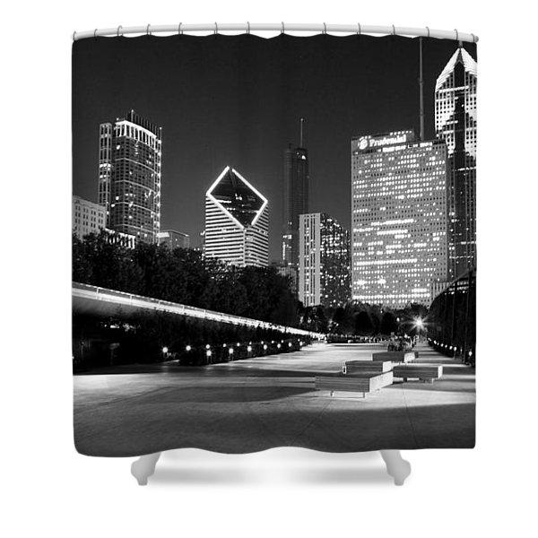 Chicago Night Skyline Black White Shower Curtain