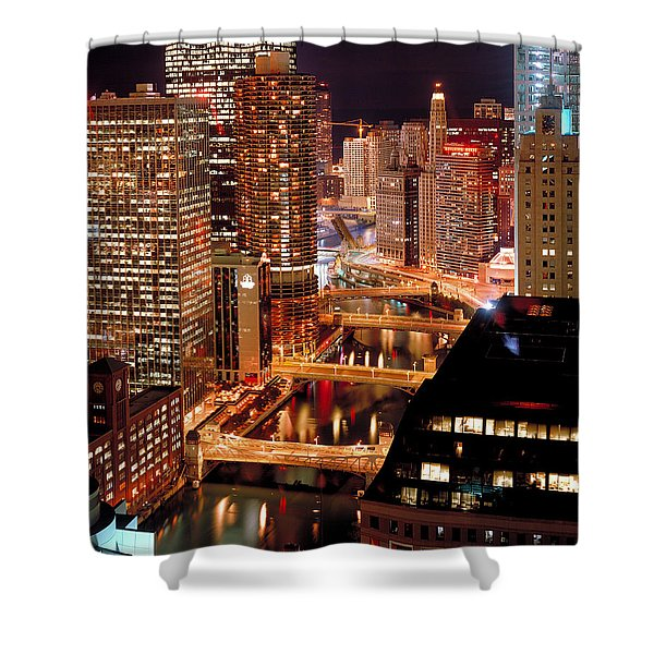 Chicago River At Night Shower Curtain