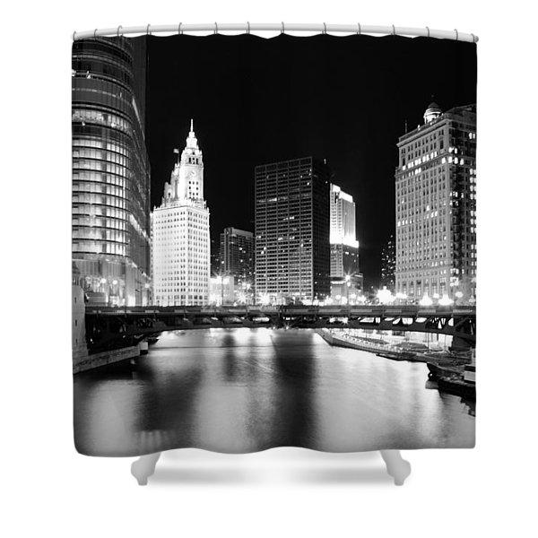 Chicago River Bridge Skyline Black White Shower Curtain