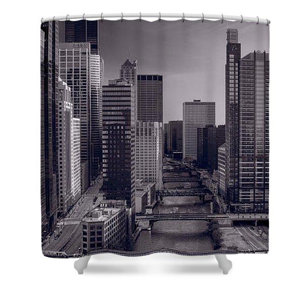 Chicago River Bridges South Bw Shower Curtain