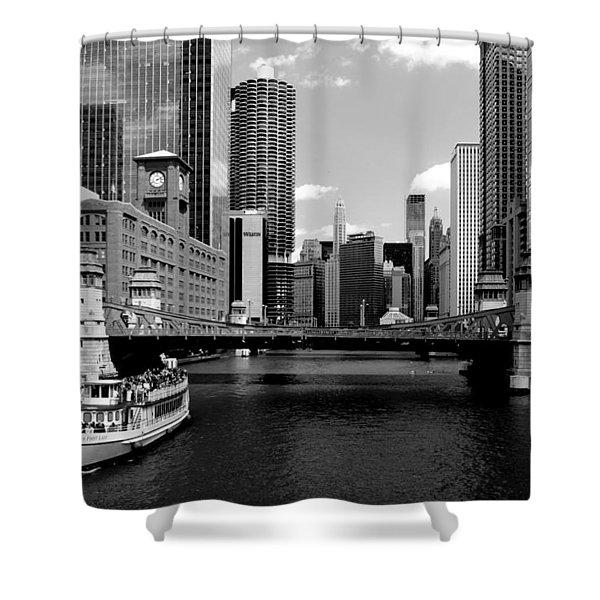 Chicago River Skyline Bridge Boat Shower Curtain