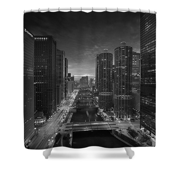 Chicago River Sunset B W Shower Curtain