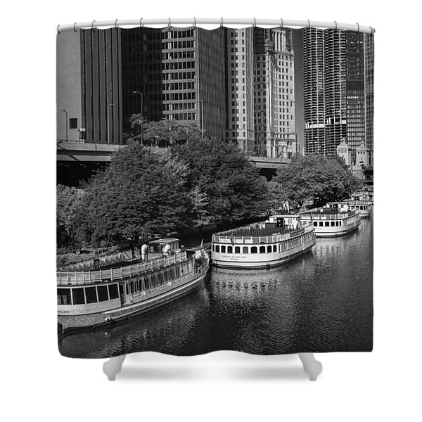Chicago River Tour Boats B W Shower Curtain