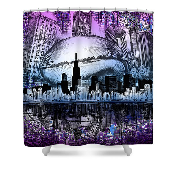 Chicago Skyline Drawing Collage 2 Shower Curtain