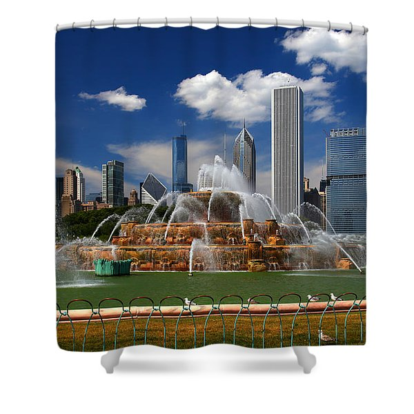 Chicago Skyline Grant Park Fountain Clouds Shower Curtain