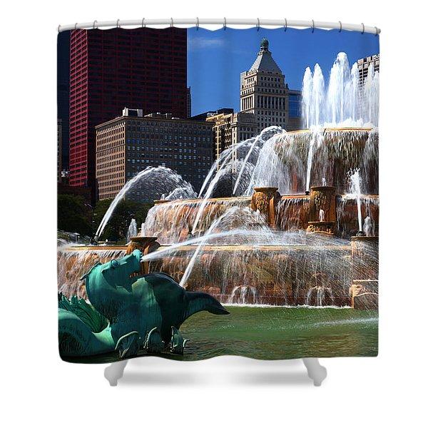 Chicago Skyline Grant Park Fountain Shower Curtain