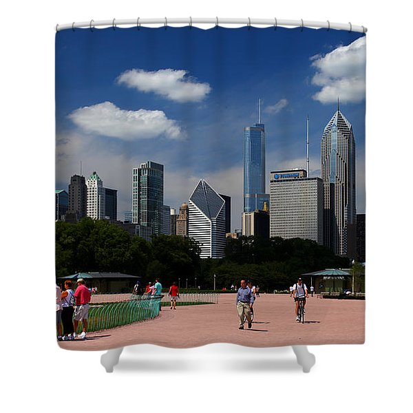 Chicago Skyline Grant Park Shower Curtain