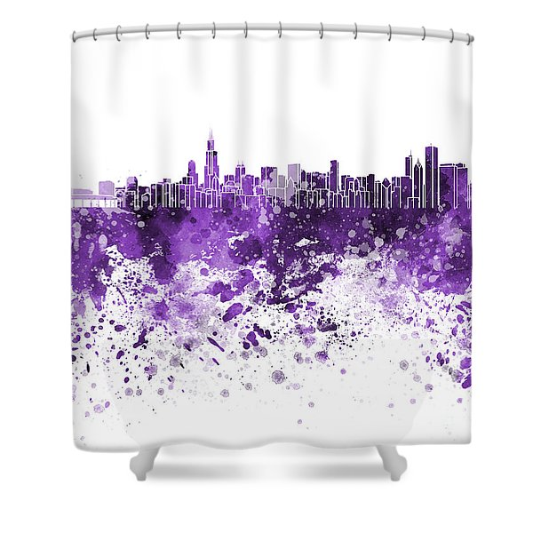 Chicago Skyline In Purple Watercolor On White Background Shower Curtain