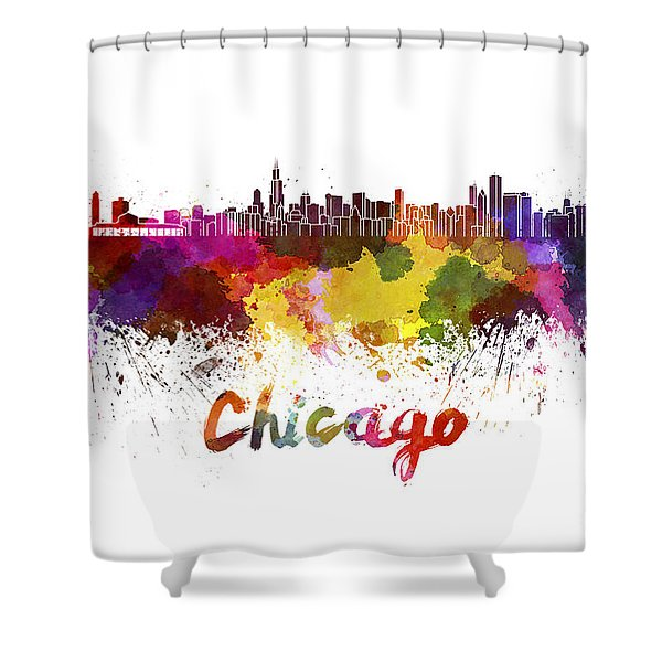 Chicago Skyline In Watercolor Shower Curtain
