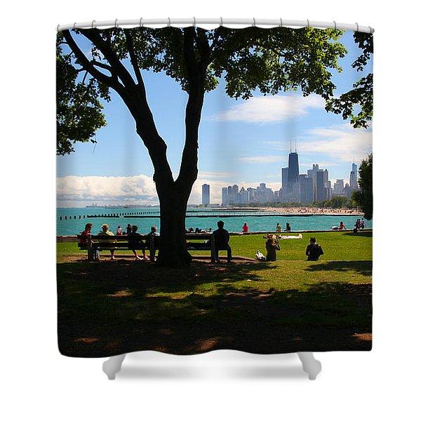 Chicago Skyline Lakefront Park Shower Curtain