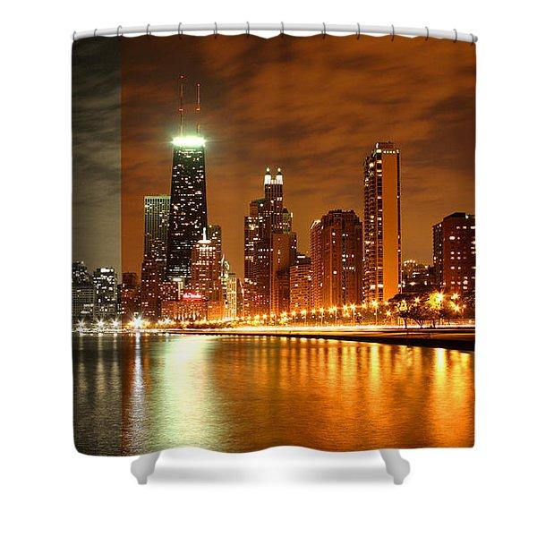 Chicago Skyline Night Amber Shower Curtain