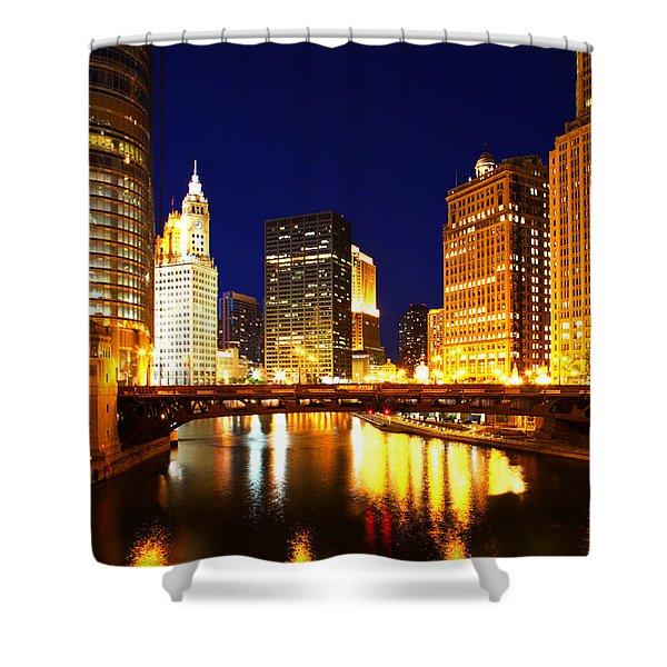 Chicago Skyline Night River Shower Curtain