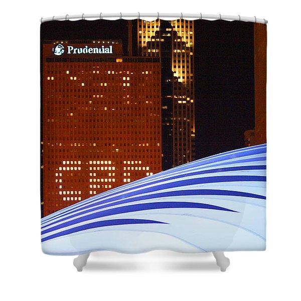 Chicago Skyline Orb Shower Curtain
