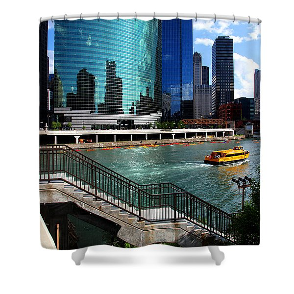 Chicago Skyline River Boat Shower Curtain