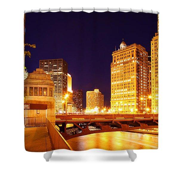 Chicago Skyline River Bridge Night Shower Curtain