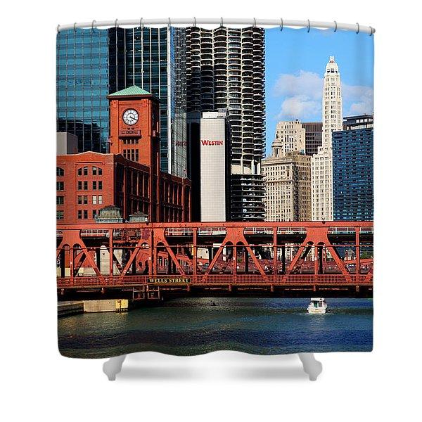 Chicago Skyline River Bridge Shower Curtain