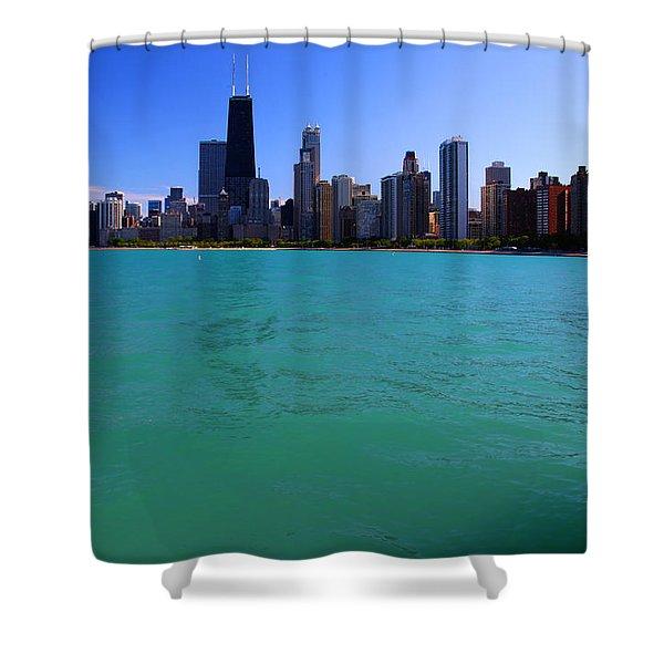 Chicago Skyline Teal Water Shower Curtain
