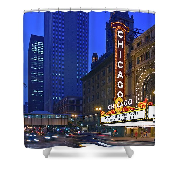 Chicago Theatre Marquee At Night Shower Curtain