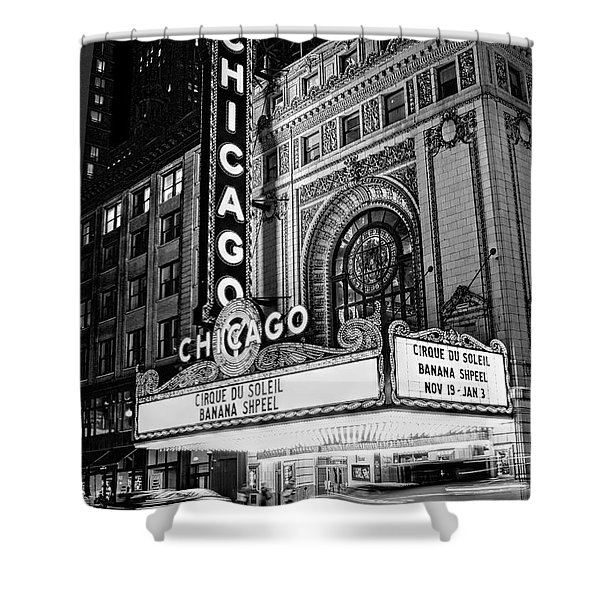 Chicago Theatre Marquee Sign At Night Black And White Shower Curtain
