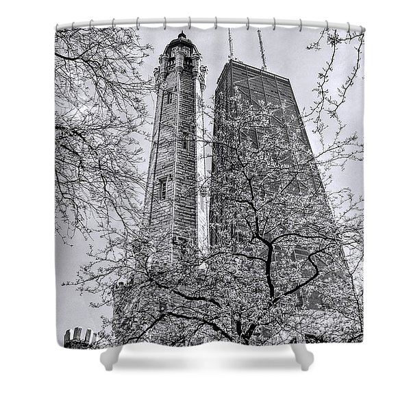 Chicago Water And Hancock Towers Black And White Shower Curtain