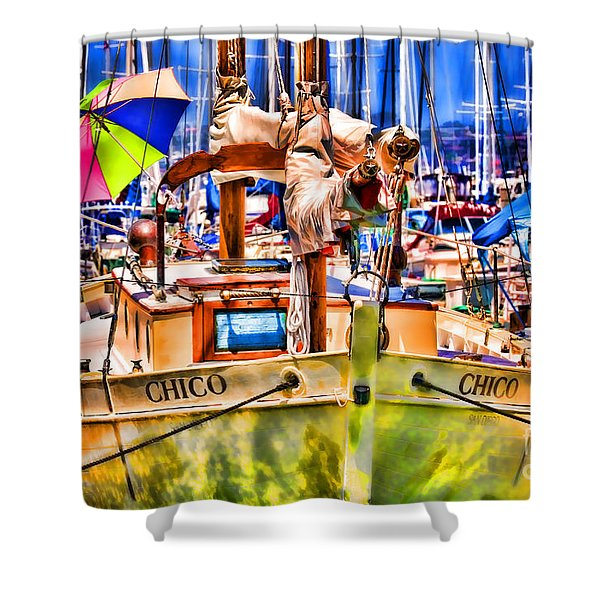 Chico Sail Boat By Diana Sainz Shower Curtain