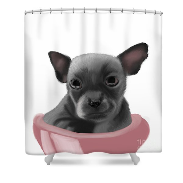 Chihauhau In A Bowl Shower Curtain