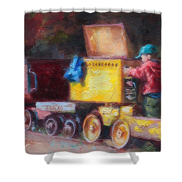 Child's Play - Gold Mine Train Shower Curtain