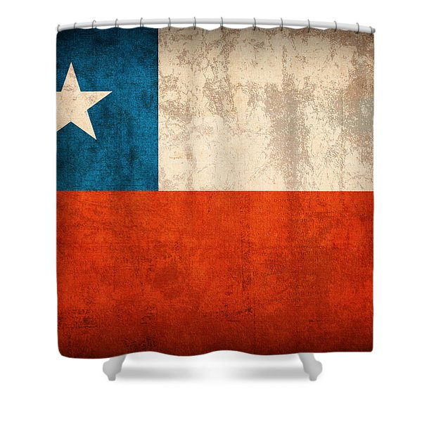 Chile Flag Vintage Distressed Finish Shower Curtain