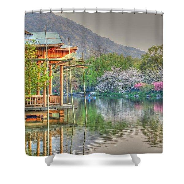 China Lake House Shower Curtain