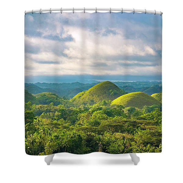 Chocolate Hills In Late Afternoon Shower Curtain