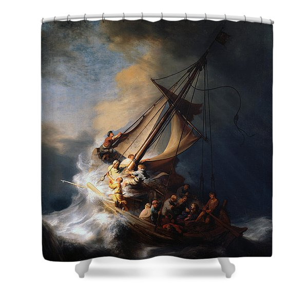 Christ And The Storm Shower Curtain